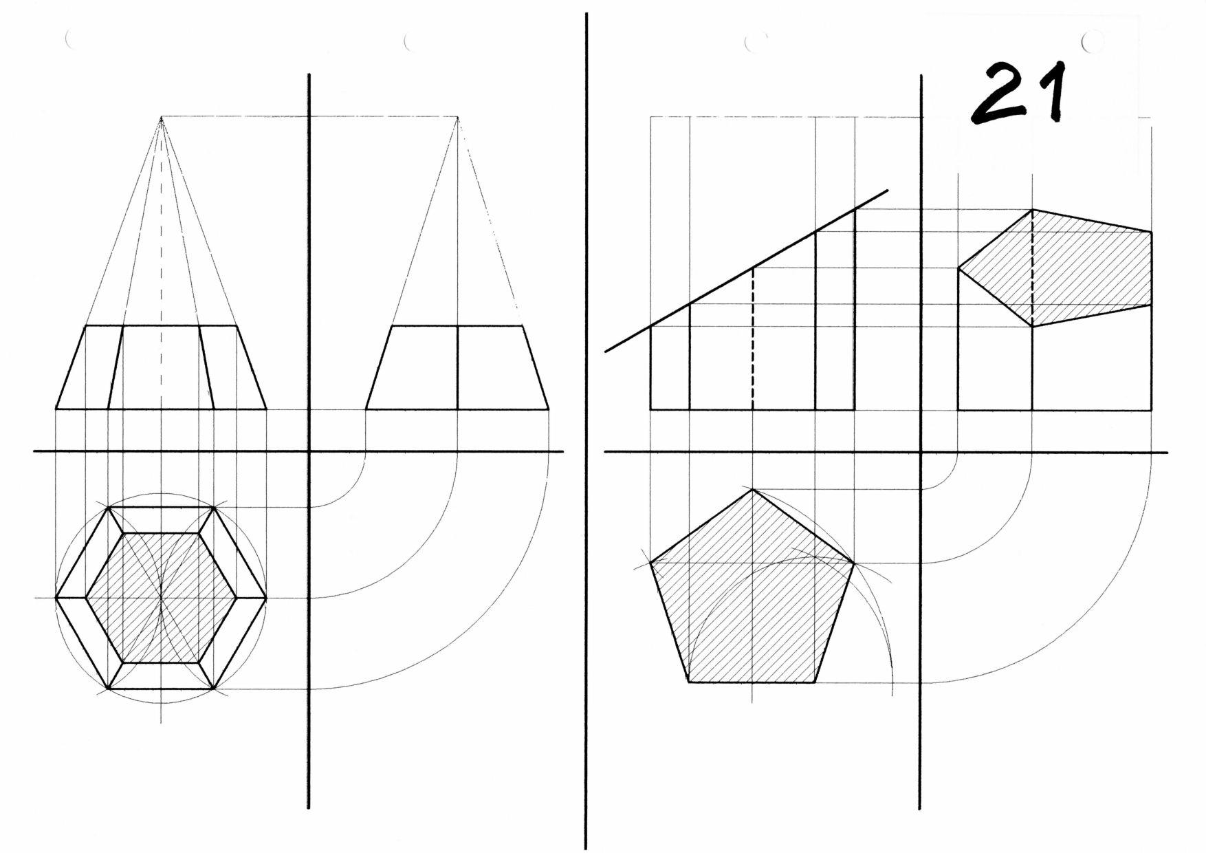 TAV 21 Proiezioni di solidi sezionati
